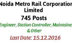 Noida Metro Rail Corporation Recruitment 2016 for Engineers