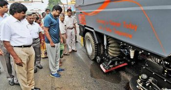Sweeping machine to clean city streets