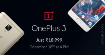 Flipkart to sell OnePlus 3 for Rs 18,999 on December 18
