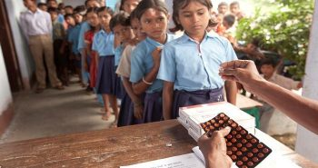 De-worming tablets administered to children