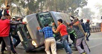 Private van ferrying children to school turns turtle, driver held