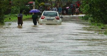 Delhi:Streets waterlogged heavy rainfall