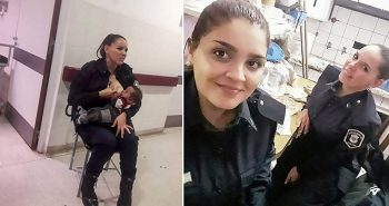 Big salute! A police officer breastfeeds a malnourished baby