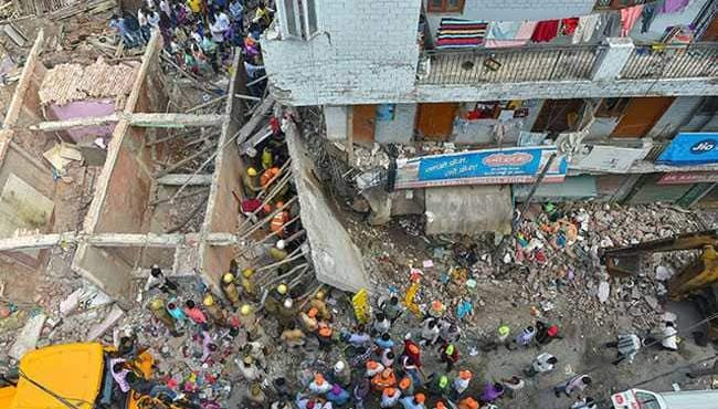 Building collapses in Delhi Ashok Vihar