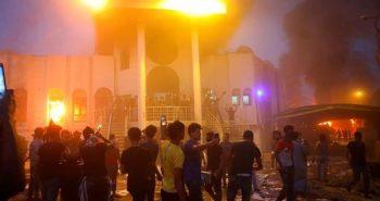 Iraqi protestors set ablaze Iranian consulate
