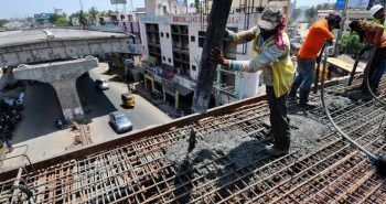 Highways Dept. reconstructing parapet walls on flyover