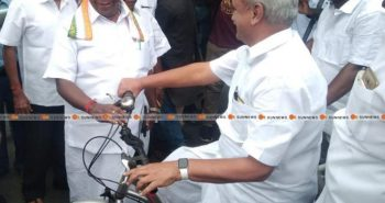 Puducherry speaker driving bicycle?