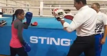 Sports Minister boxing with Mary Kom video