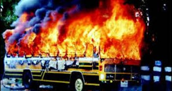 Private bus burned fire in Dharmapuri