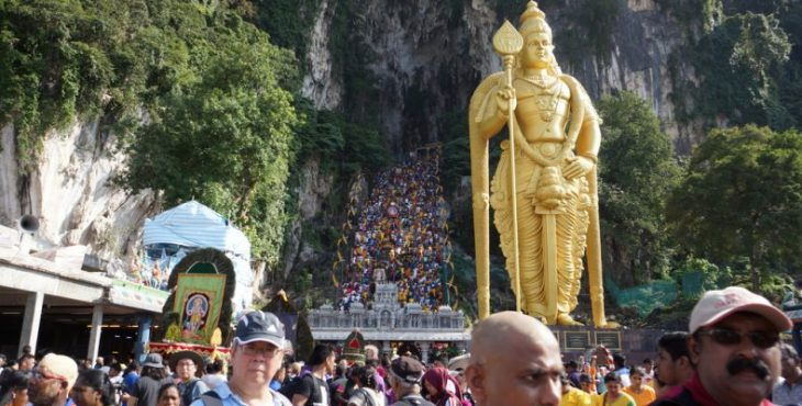Devotees celebrating Thaipusam festival