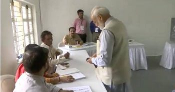 PM Narendra Modi cast his vote in Ahmedabad