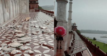 Thunder storm scratched some marbles in Taj mahal