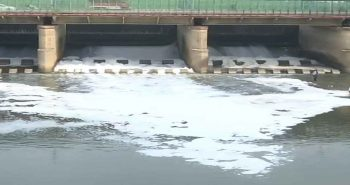 Pollution causes toxic foam in Yamuna River